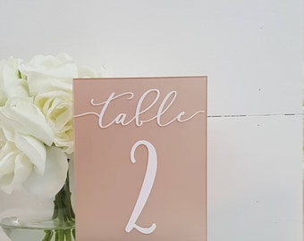 Modern Wedding Table Numbers - Acrylic Table Numbers - Table Numbers Signs for Wedding - Glass and Wood Table Numbers