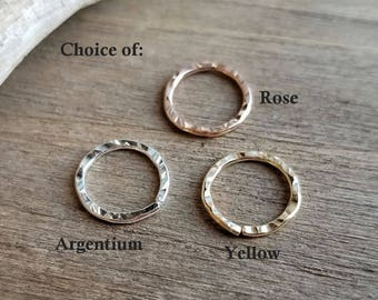 Textured Nose Ring, Endless Hoop, Cartilage Earring, Artisan Jewelry, Choice of 18g Argentium Silver or 14k Gold Filled Yellow or Rose