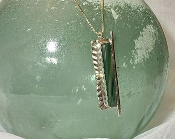 Murano Sea Glass Cane Necklace Green Clear Ribbon Fine Silver and Argentium Sterling Silver