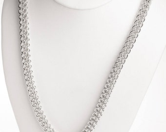 25th Anniversary, Silver Gift for Her, Sterling Silver, Chainmail Necklace, Chain Link Necklace, Ontario Canada, Chainmaille Jewelry