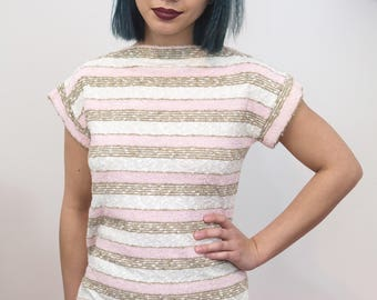 Vintage 1970s 1980s Neopolitan Tan Pink and White Terry Cloth Shirt, Vintage Terry Cloth T-Shirt, 70s Terry Shirt, Striped Terry Cloth Top