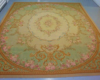 French AUBUSSON Rug 8x10 Pink ROSES Scrolly Gold Taupe Aqua Rose Shabby Cottage Chic Vintage Antique
