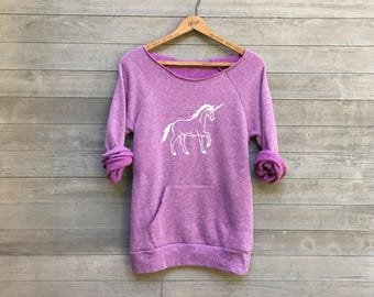 Just a Dreamer Unicorn Shirt, Unicorn Sweater, Yoga Top, Purple Sweater, XS,S,M,L,XL