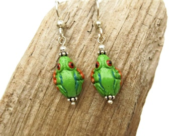 Ceramic Tree Frog Earrings / Sterling Silver, Green Frog Lover Gifts Under 20, Pottery Animal Totem Beads, Wildlife Jewelry, USA Handmade