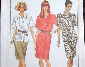 Vintage Sewing Pattern Simplicity 9610 Tunic Top Skirt, Funnel Neck Dress Womens Misses Size 8 10 12 14 Bust 31 32 34 36 Uncut Factory Folds