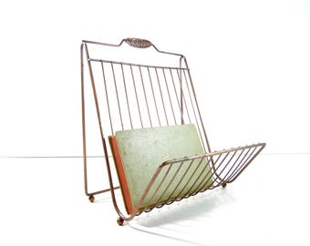 Vintage Mid Century Magazine Rack / Copper Metal Magazine Rack