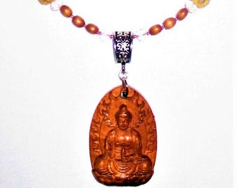 Rose Quartz Quan Yin necklace with Wood and Faceted Crystals