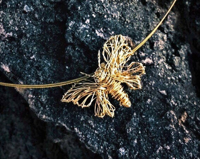 Featured listing image: 14k Gold necklace, gold butterfly necklace, yellow gold necklace, cute, boho chic, wire jewelry, Christmas gift woman, fall gift art jewelry