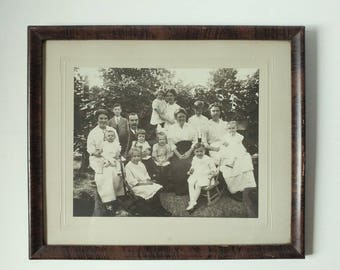 """Antique photograph, framed antique photo, 12"""" x 14"""" framed vintage black and white photo 1910 family portrait photo Rochester NY"""