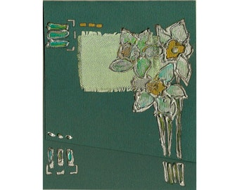Mint green daffodils - handmade blank greeting card for any event original painting, mixed media art, silver gold emerald floral OOAK