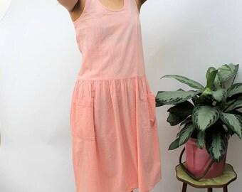 St Michael Peach Pink Drop Waist Midi Dress Size UK 10, US 6, EU 38