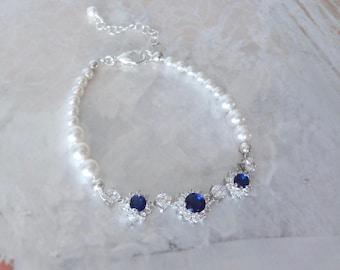 Blue sapphire and pearl bracelet, Halo, Cubic Zirconia's,Swarovski pearl bracelet,Something blue,Brides bracelet,Wedding bracelet, KATE
