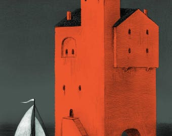 Refuge - Mythical Castle and Boat Illustration Print