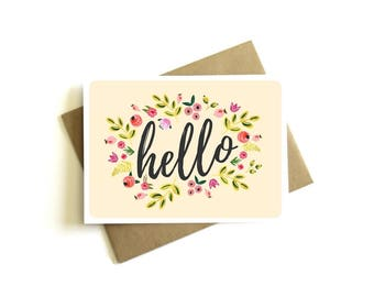 Hello Floral Greeting Card - Just Because Card, Friendship Card, Hello Card, Floral Greeting Card, Thinking of You Card, Miss You Card