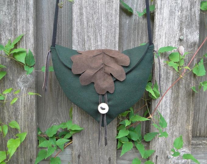Woodland Fairy Bag, Elven Cross Body Purse - Deep Green Wool W/ Brown Oak Leaf