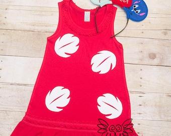 Hawaiian Girl Costume, Scrump, Red Hawaiian Dress, Hawaiian Cosplay,Mouse Ears, vacation, Family vacation, Mouse Ears headband