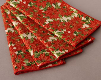 Christmas Napkins | Red Poinsettias on Cream | Set of 4 Cloth Napkins | Holiday Table Decor