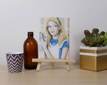 Mini Canvas of Alice in Wonderland on Book Pages