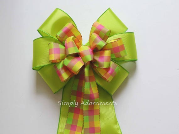 Lime Pink Yellow Plaid Wreath Bow Green Pink Yellow tartan Bow Summer Plaid Wedding Pew Bow Birthday Party decor Bridal shower party Decor
