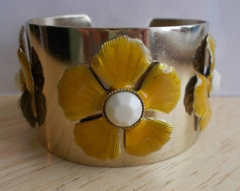 Gold Tone Cuff Bracelet with Yellow Enamel Flowers with White Centers