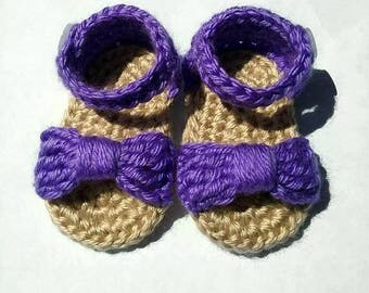 Lilac Baby Sandals, Baby Summer Shoe, Crochet Purple Sandals, 0 to 3 Months, Ready To Ship