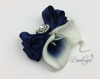 CHOOSE RIBBON COLOR - Navy Blue Calla Lily Corsage, Calla Lily Corsage, Navy Blue Corsage, Picasso Navy Blue Corsage, Bling, Diamond, Brooch