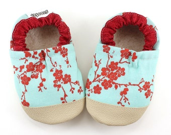 cherry blossom shoes baby girl red and aqua asian baby shoes cherry blossom booties soft sole shoes vegan baby moccasins rubber sole shoes