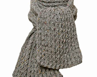 Hand Knit Scarf - Grey Tweed French Wool Cable Rib