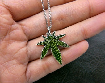 Hand painted Weed pot leaf Necklace jewelry