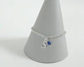 Initial Birthstone Bracelet, Initial Bracelet, Birthstone Gift, Birthstone Jewellery, Birthday Bracelet, Birthday Gift, Sterling Silver
