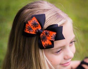 Halloween Barrettes - Halloween Hair Bow - Spiderweb Bow - Halloween Headband - Spider Hair Bow - Orange and Black Bow - Girls Hair Bow