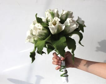 Wedding bouquet white felted with ringtulpe bridal bouquet with white tulips
