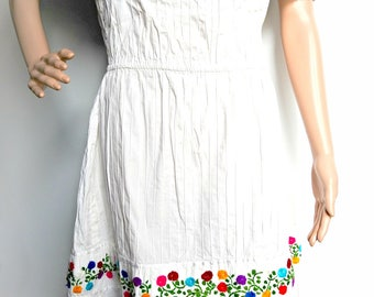 Off shoulder  boho bohemian white dress