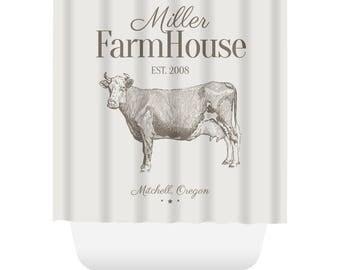 Custom Farmhouse Shower Curtain - Cow, Bull, Cattle - Custom Shower Curtain
