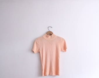 Minimal Peach Mock Turtleneck Top