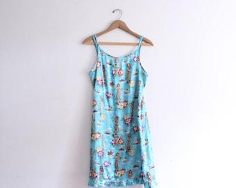 Hawaiian Pattern 90s Slip Dress