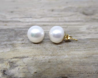 Pearl Stud Earrings Gold, Pearl Earrings Stud, Freshwater Pearl Post Earrings, Bridesmaid Stud Earrings, Small Pearl June Birthstone Jewelry