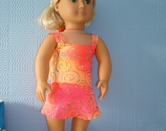 Orange Glitter Swimsuit/ Leotard and Skirt. To fit American Girl / Our generation doll