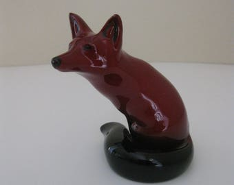 Vintage Royal Doulton FLAMBE Sitting Red Fox Figurine