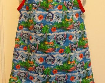 Disney Stitch Hawaiian Nights Girls Pillowcase Dress, Made To Order Size 6m, 9m, 12-18m, 18-24m and Size 2 to 8, Lilo, Stitch, Cotton Fabric