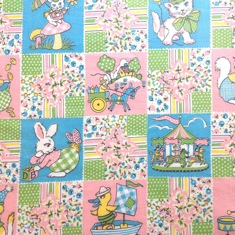 Animal fabric child s print juvenile anthrpomorphic cotton for Vintage childrens fabric prints