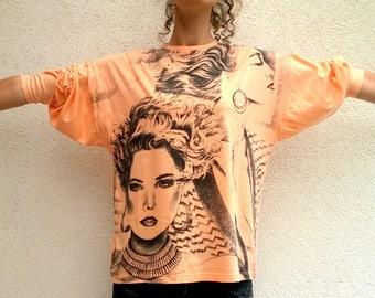90s sweatshirt, orange vintage shirt, women top, salmon shirt, cotton sweatshirt, oversize top, women sweatshirt (GP155)