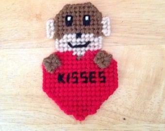 Monkey Valentines Magnet, Critter Magnet, Valentines Day Gift, Monkey Gifts, Gift for Kids, Kids Magnets, Kisses, Monkey Magnet
