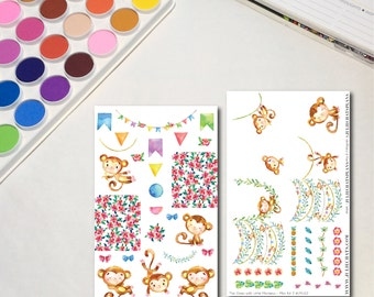 Monkey Planner Sticker Sheets, The Ones with Little Monkeys Mini Kit, Cute Animals Watercolor Stickers