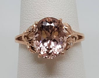 3.12ctw Morganite & Diamond 10kt Rose Gold Ring Size 6.5