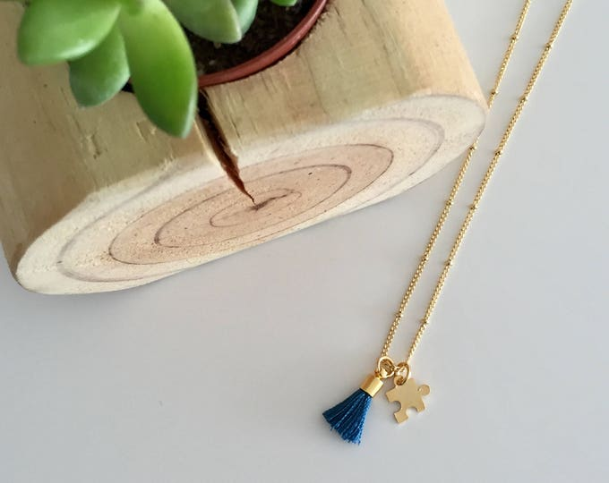 Featured listing image: AUTISM Awareness Necklace | Tiny Gold Puzzle and Mini Tassel Necklace / 25% profit donated to Grant a Gift Autism Foundation | FREE SHPPING