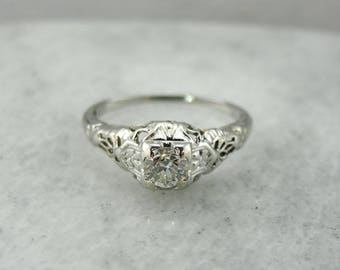 Stunning Art Deco Diamond Engagement Ring in White Gold Filigree Setting, Antique Diamond Engagement Ring, Art Deco Diamond Ring A70Q2Y-D