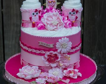 Pink Owl Diaper Cake - Baby Shower Cake - Baby Cake for a Girl - Owl Cake - Baby Shower Centerpiece - Girl Baby Shower - Pink - Hot Pink