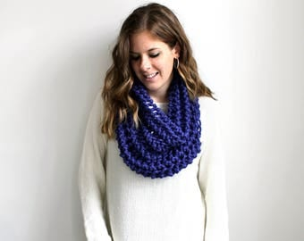 Chunky Knit Cowl Scarf Knitted Scarves Cobalt- Aberdeen Cowl