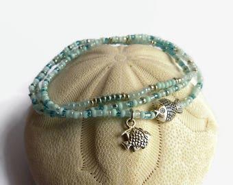 Dainty bracelet, fish bracelet, seed bead bracelet, bridesmaid jewelry, stretch bracelet, summer jewelry, charm bracelet, gift for women